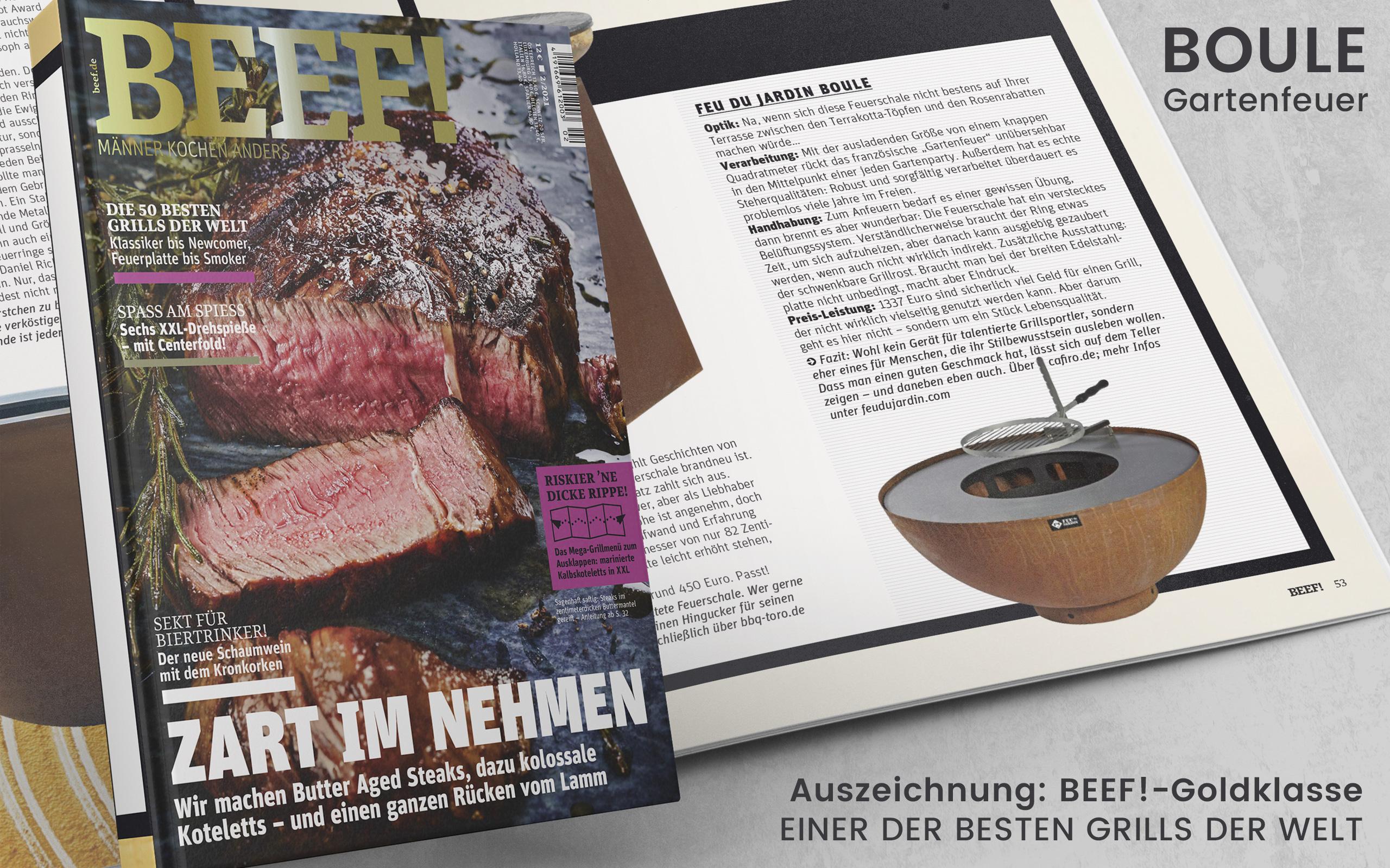 BEEF Magazin - Auszeichnung Boule - Feu du Jardin