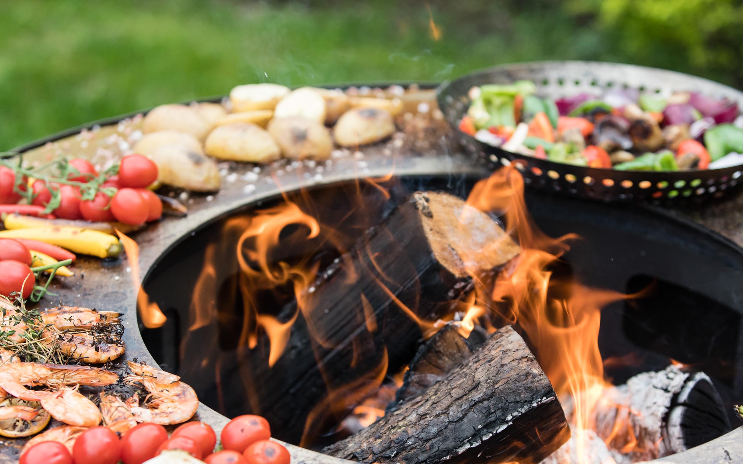 Essen zubereiten im Garten auf der Feureschale - Boule