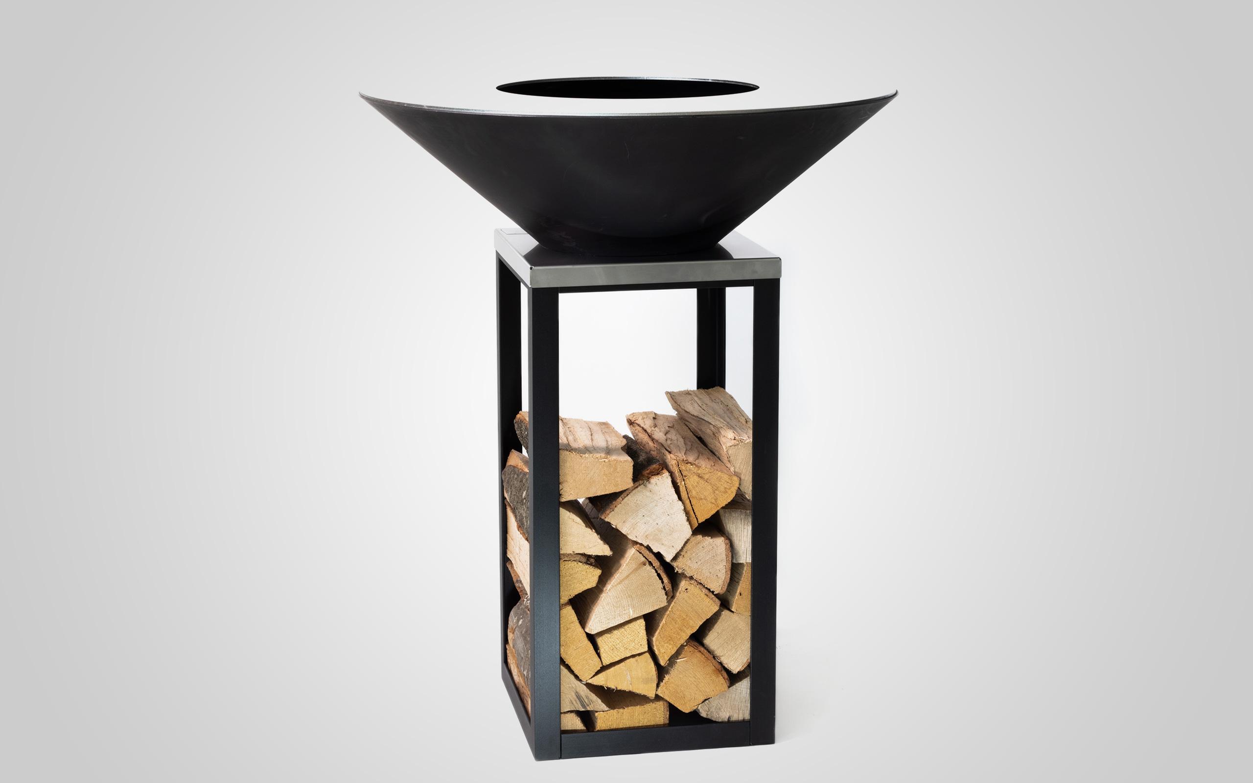 Fyro 80 Feuerschale mit praktischer Holzablage