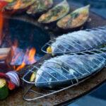 Fisch grillieren mit dem Fischbräter - Feuerschale