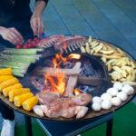 Essen zubereiten auf der Plancha Platte - Feu du Jardin